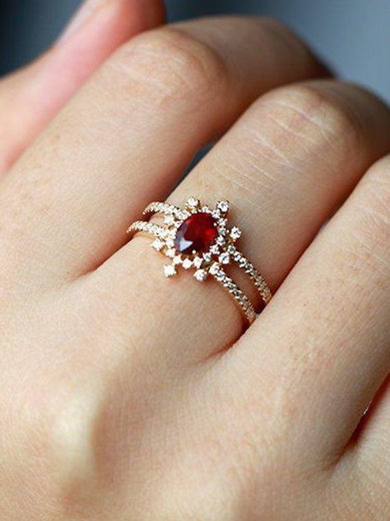 cc3a3e01c3b6 Unique engagement ring ruby Vintage women diamond wedding antique art deco 14k  yellow gold unique ha