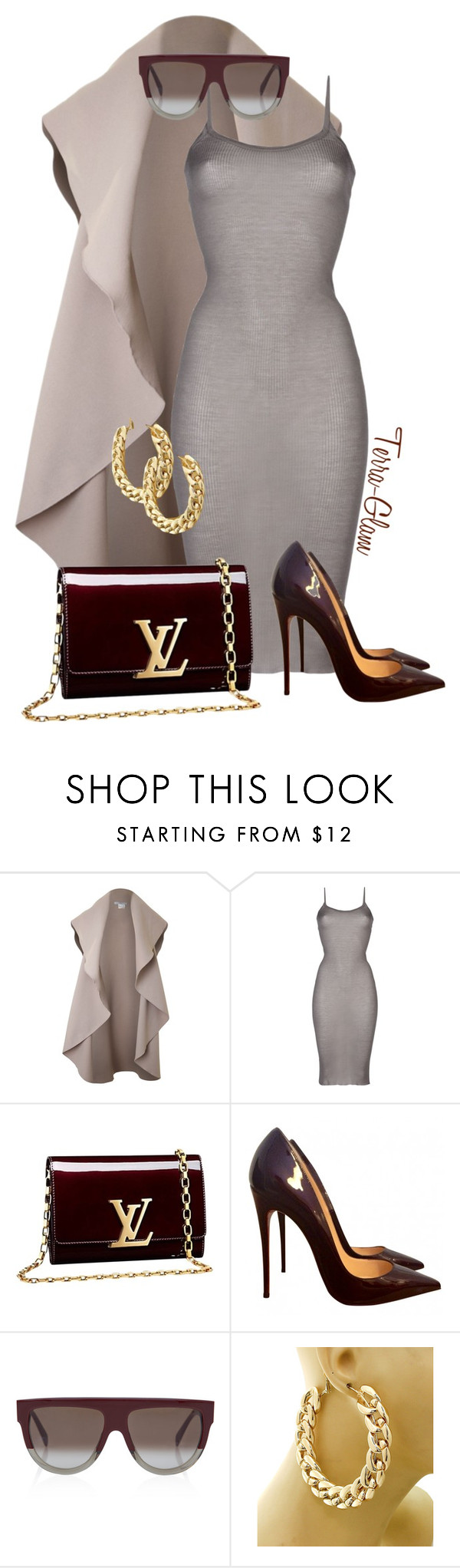 """She's Too Cool"" by terra-glam ❤ liked on Polyvore featuring Rick Owens, Louis Vuitton, Christian Louboutin and CÉLINE"