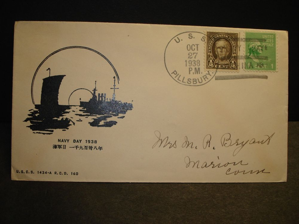 Uss Pillsbury Dd 227 Naval Cover 1938 China Navy Day Cachet Sunk Wwii Navy Day Wwii Naval