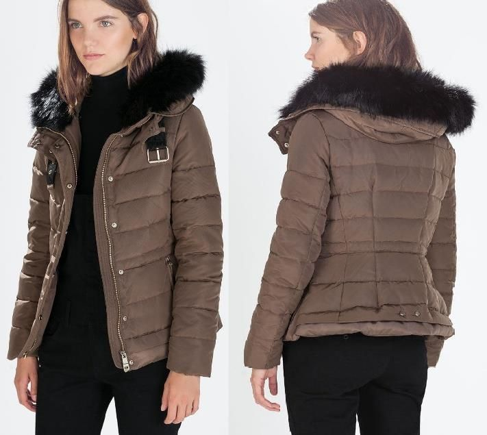 Zara Shiny Duck Down Feather Puffer Quilted Jacket Coat Fur Hood M L XL BNWT