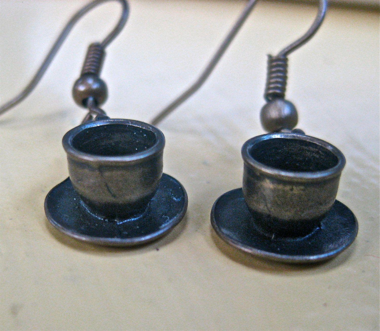 Tea Pot EArrings   Alice in Wonderland Tea Party Coffee cup Earrings   tateam