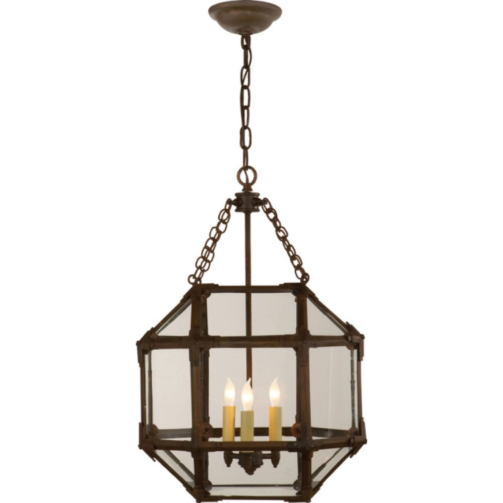Suzanne Kasler Small Morris Lantern in Antique Zinc Finish with Clear Glass by Visual Comfort SK5008AZ-CG
