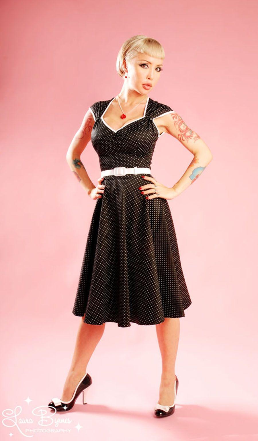 Beautiful retro A-line 1950s style polka dot dress Heidi Dress in ...
