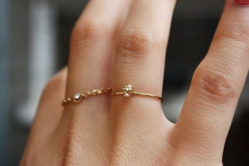 click to shop this delicate skull ring by Bing Bang!