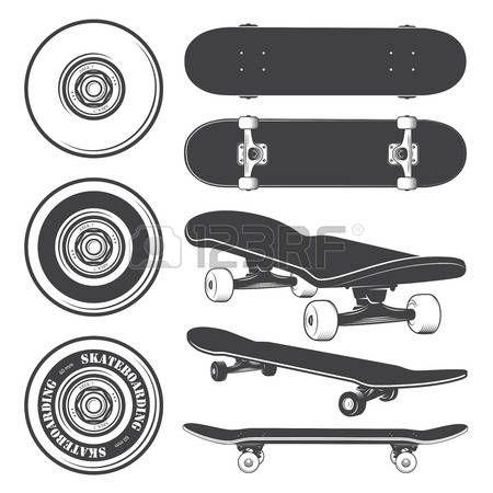 Set Of Skateboards And Skateboarding Wheels Skateboard Tattoo Skateboard Images Skate Tattoo