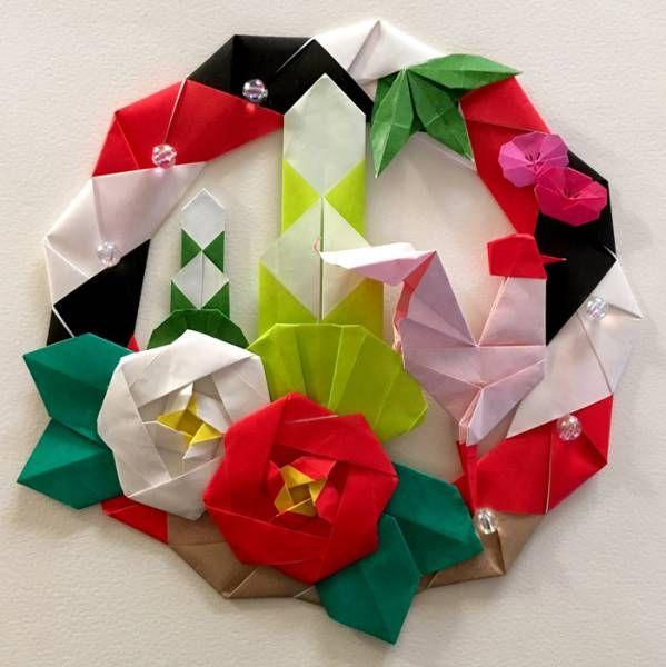 製品情報紐なし(ご希望有りましたら付けること可能です)お正月をモチーフにした折り紙リース  1点の出品です。カッコよく、かつオシャレな感じを目指して作ってみまし