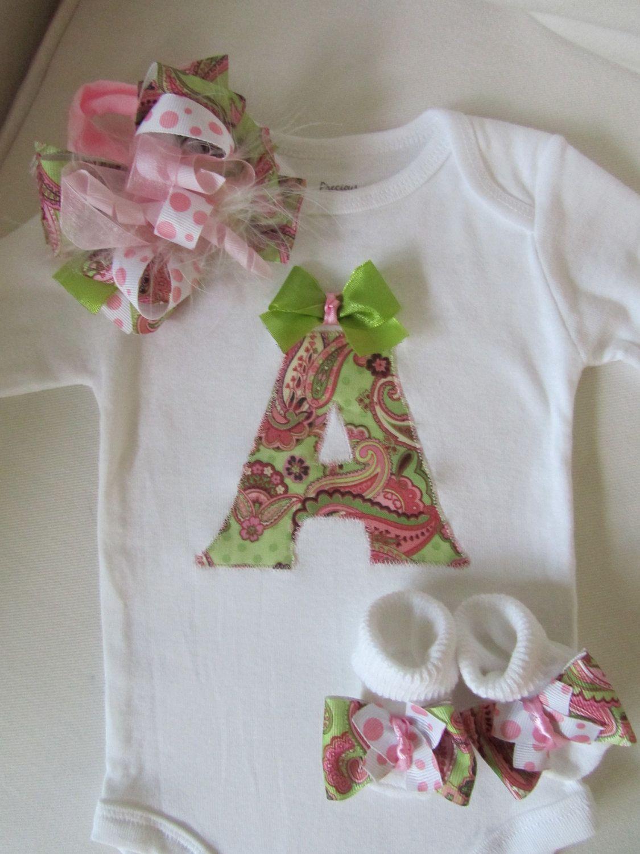 Baby girls monogrammed onesie gift set newborn baby