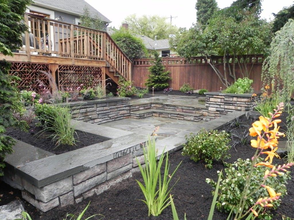 Small Backyard Ideas Stacked Natural Stone Rectangle Shaped