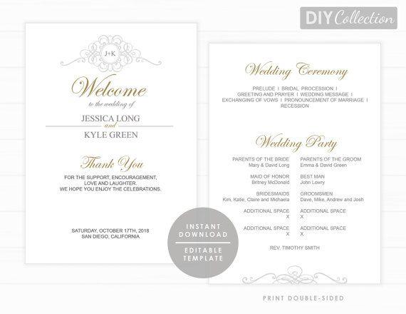 Order of service Wedding Ceremony Program Template \u2022 5x7 Editable Double Sided \u2022 Calligraphy \u2022 Minimal Elegant Program Templett Program