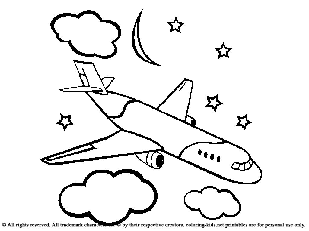 Airplane With Clouds coloring picture for kids | Tank | Pinterest ...
