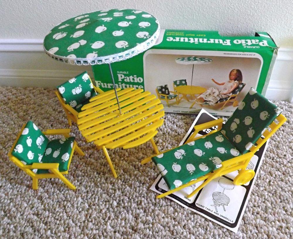Vintage 70 S Barbie Doll Size Durable Yellow Plastic Patio Furniture Set W Box