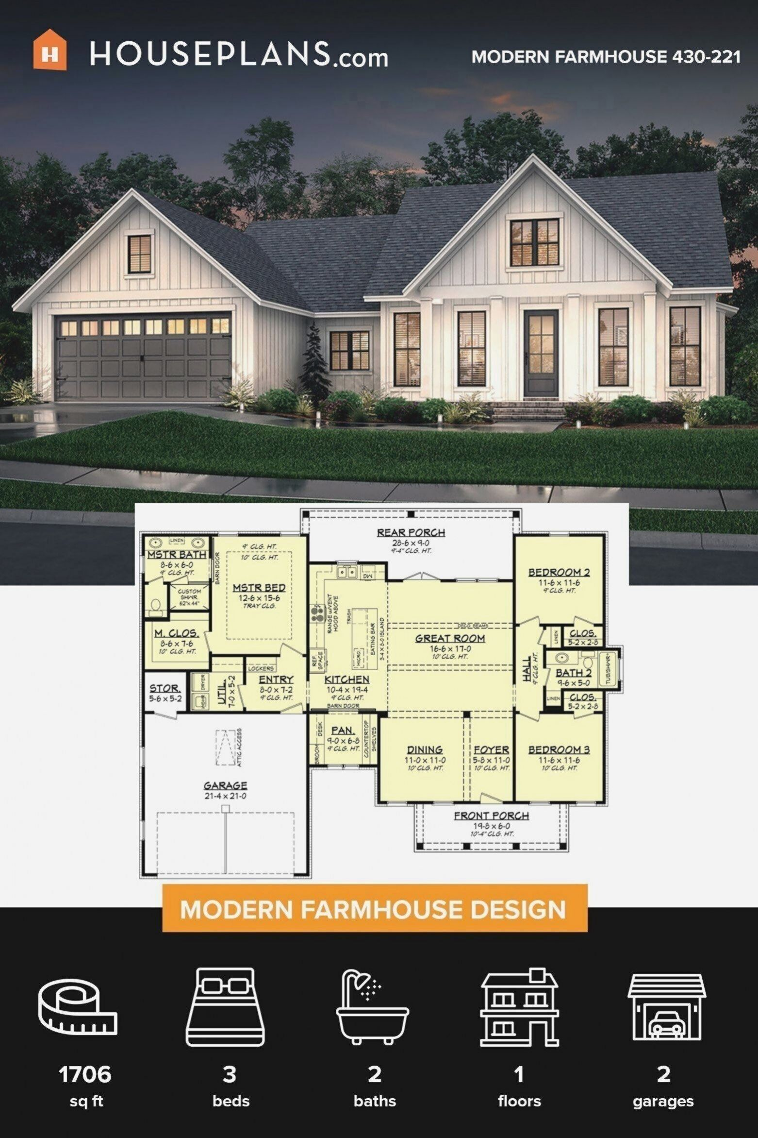 Modern Farmhouse Style Doesn T Require A Huge Budget This 1 Square Foot Home Proves You Ll Find Tons O 2020 Ev Planlari House Blueprints Ciftlik Evi Tarzi