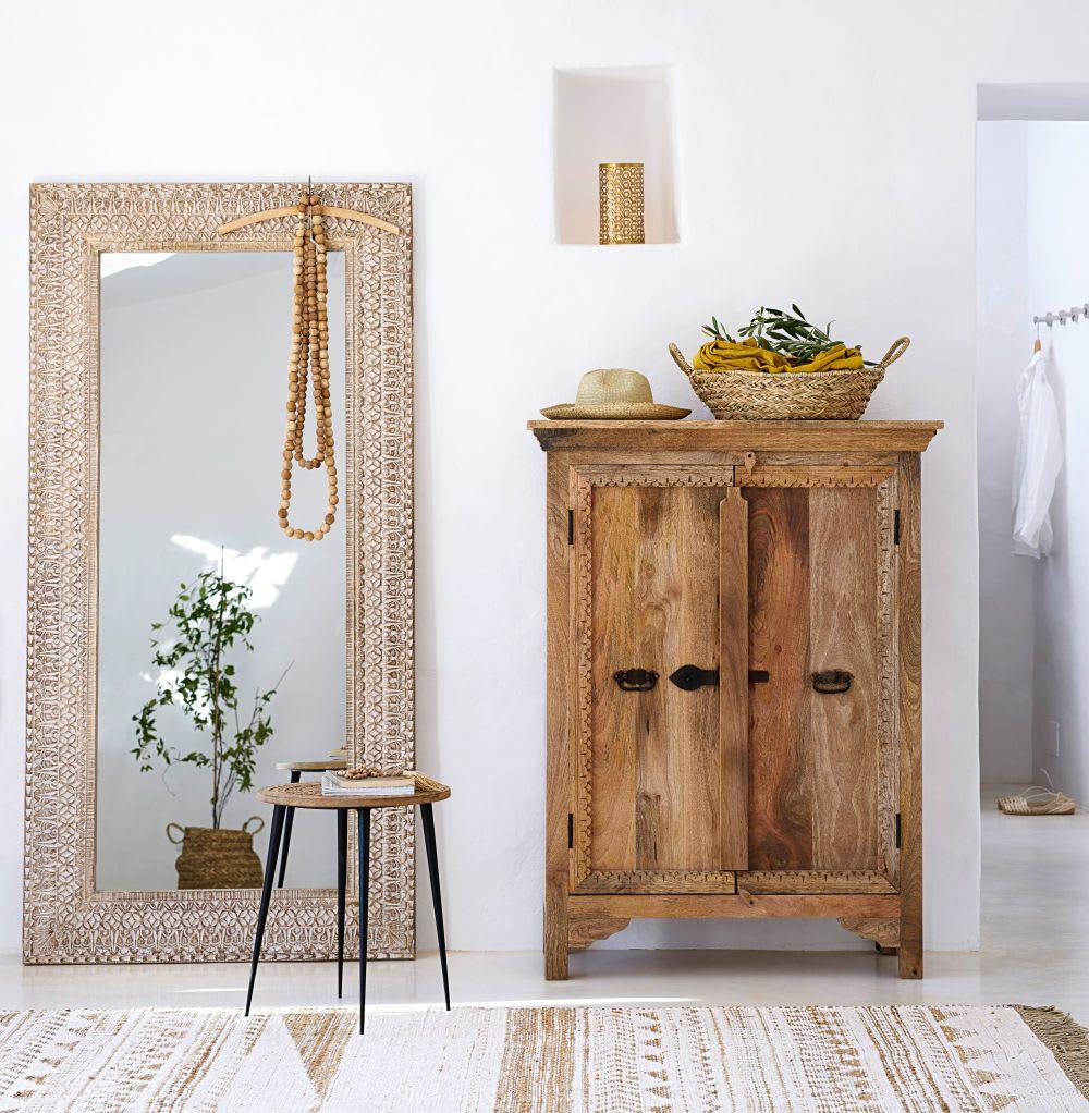 Cajonera De Mango Macizo Con 2 Puertas Cabinet De Rangement Decoration Maison Mobilier De Salon