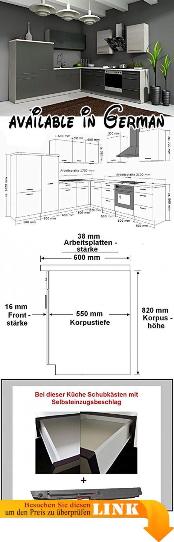 Maße Spüle b008muqpbi küche 280x270 cm küchenzeile in grafit grau