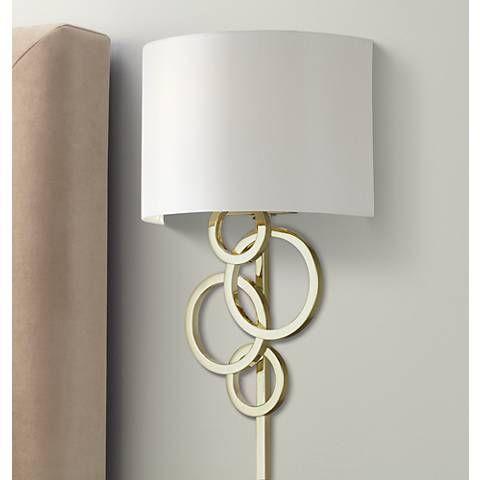 Possini Euro Design Circles Polished Brass Plug In Wall Lamp 8f636 Lamps Plus Plug In Wall Lamp Plug In Wall Sconce Wall Lamp Plug in wall lamps