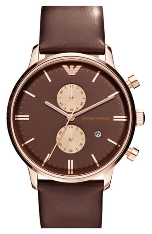 Emporio Armani Leather Strap Watch, 43mm gifters.com armarni watches