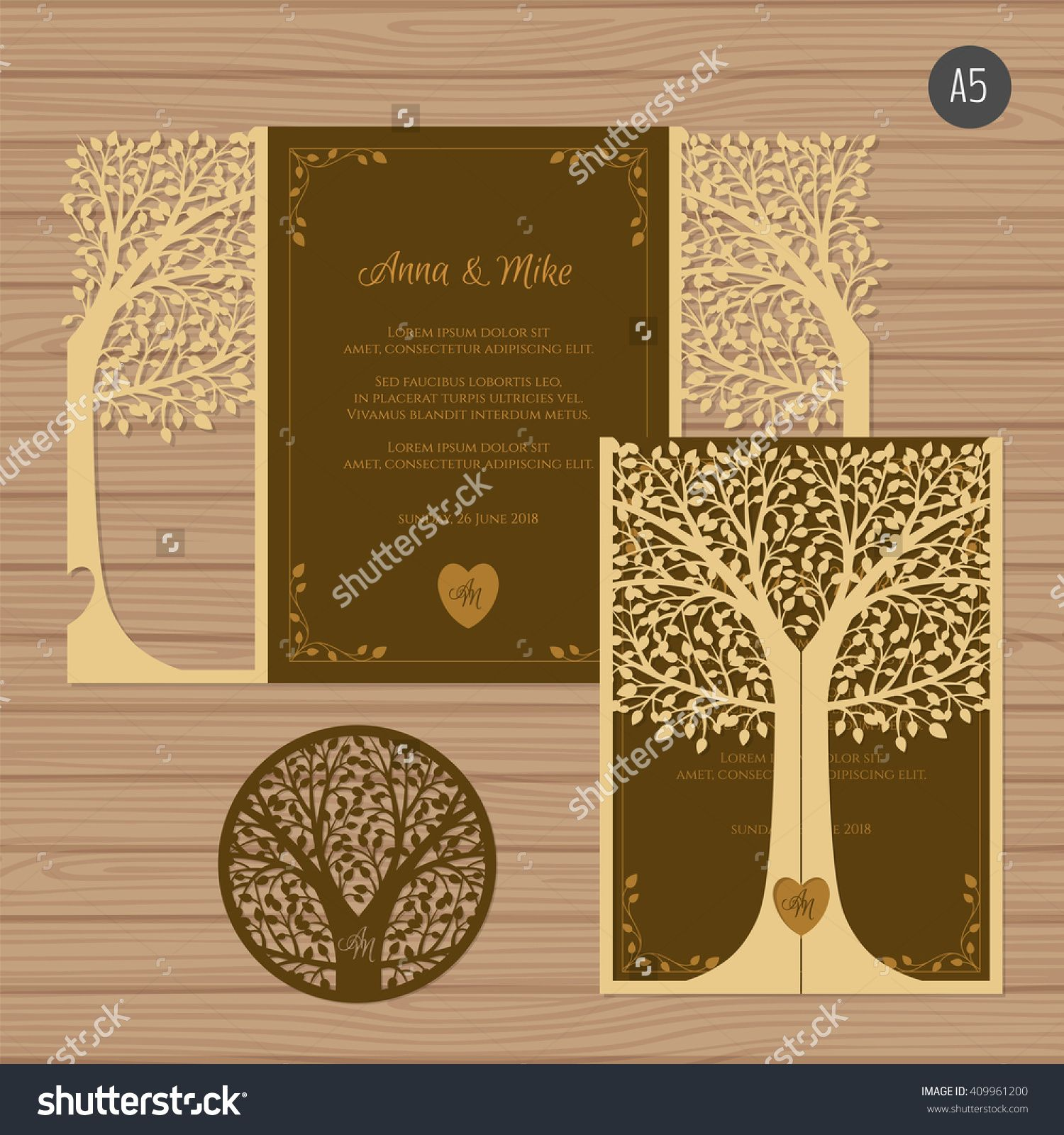 Wedding Invitation Or Greeting Card With Tree Paper Lace Envelope