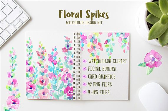 Floral Spikes Watercolor Design Kit Abstract Flower Pink Peach And Purple Card Graphics For Instant Download Clipart