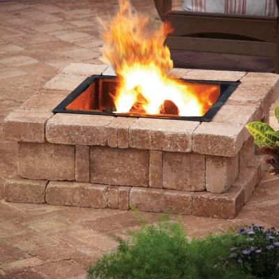 Pavestone 38 5 In X 14 In Rumblestone Square Fire Pit Kit In Sierra Blend Rsk50377 The Home Depo Square Fire Pit Fire Pit Backyard Outdoor Fire Pit Designs