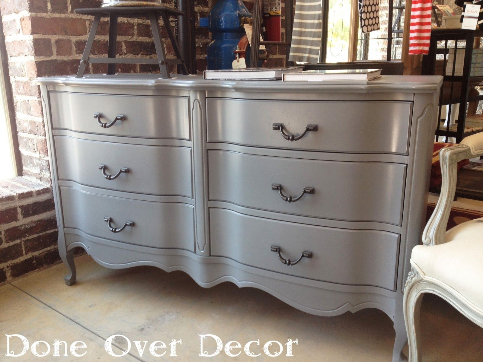 Refinished antique gray dresser with curved drawers | A Painted Nest ...