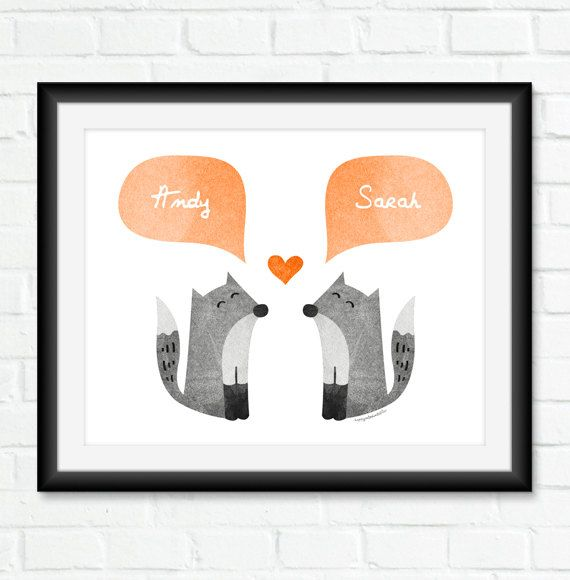 FOX Couple Personalized Wall Art Unique Engagement Gift For Gray Tangerine Orange Home Decor Love