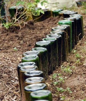 wine bottle garden border - now I know what to do with my bottles!