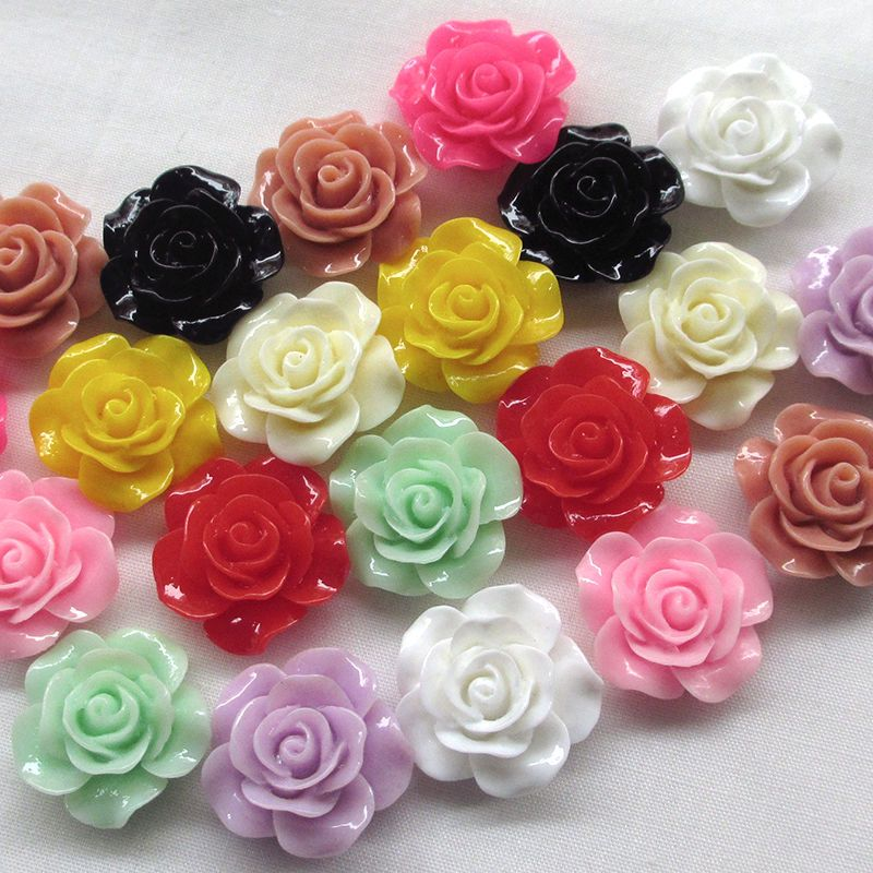NEW 20pcs MIX Resin Rose Flower flatback Appliques For phone//wedding//crafts