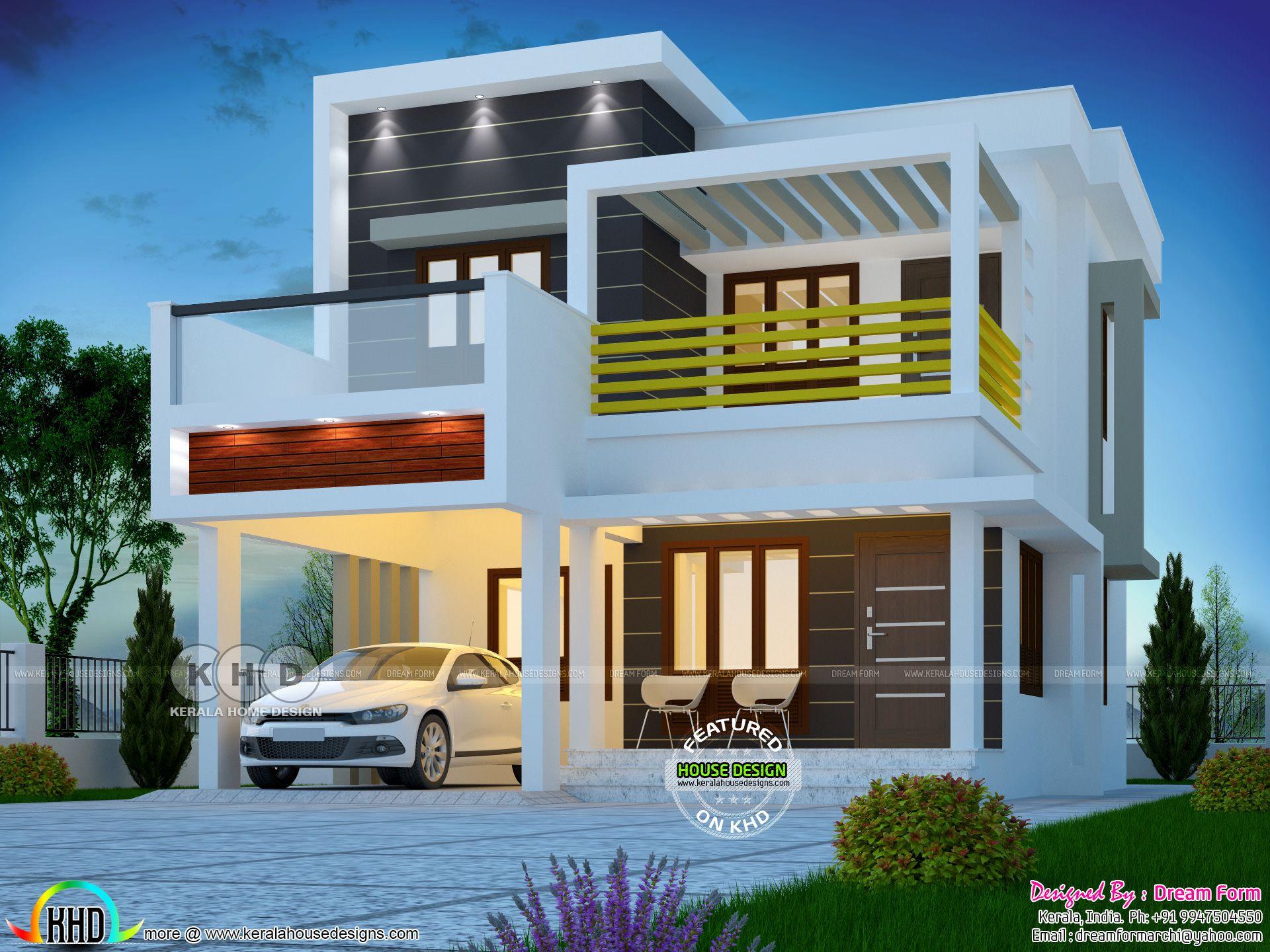 1600 Square Feet 3 Bedroom Box Type Modern Home Kerala House Design House Designs Exterior Duplex House Design