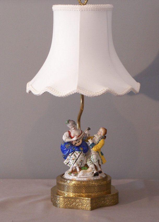 Pair German Dresden Hand Painted Porcelain Figure Lamps
