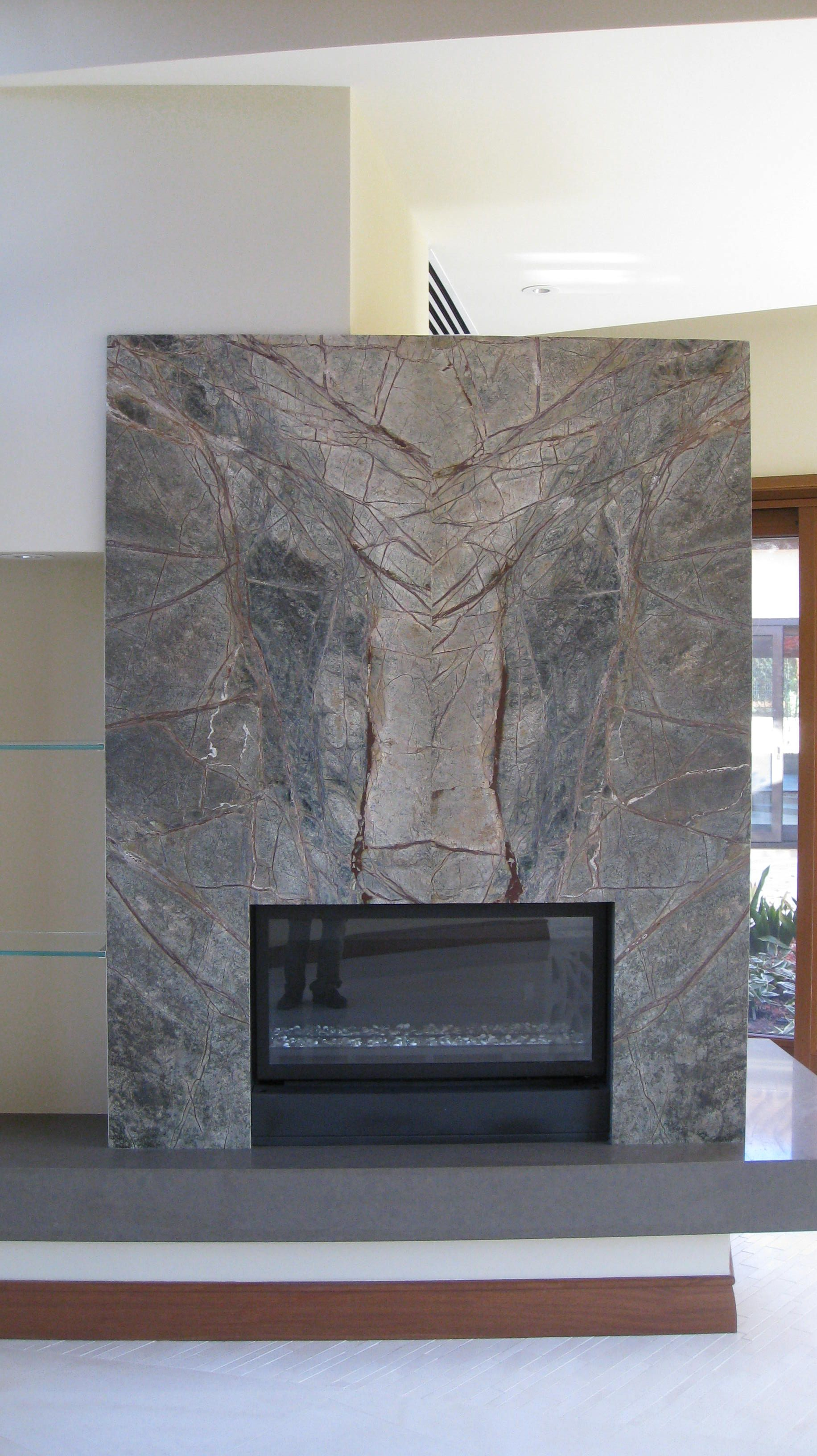 Book Matched Stone Fireplace Wall And Slab Stone Hearth