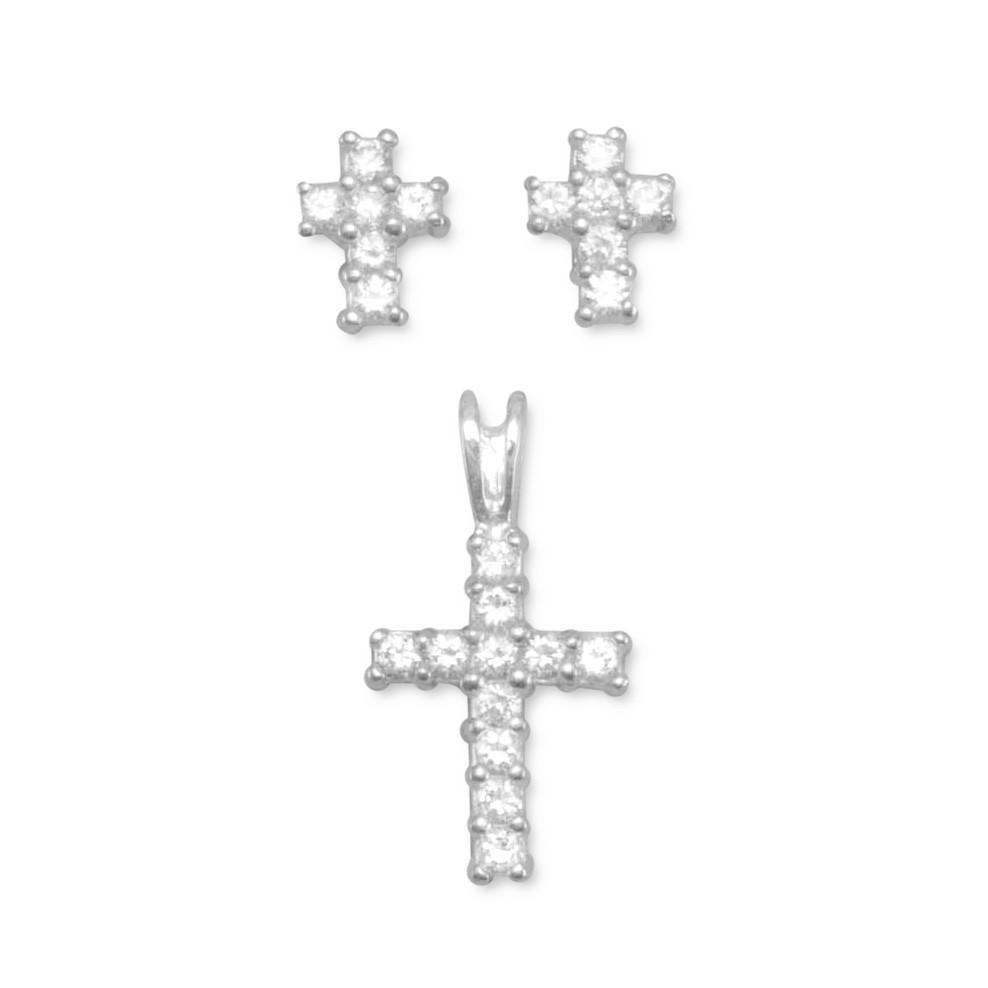 Cz cross earringspendant set products pinterest cross