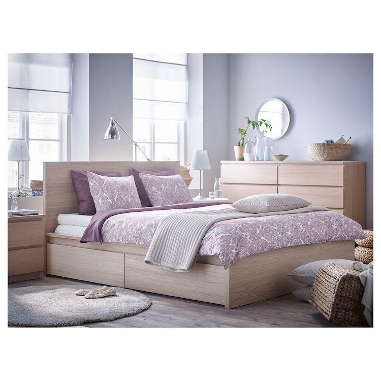 Malm High Bed Frame 2 Storage Boxes White Stained Oak Veneer Luroy Queen Yatak Odasi Renkleri Karyola Kucuk Yatak Odalari
