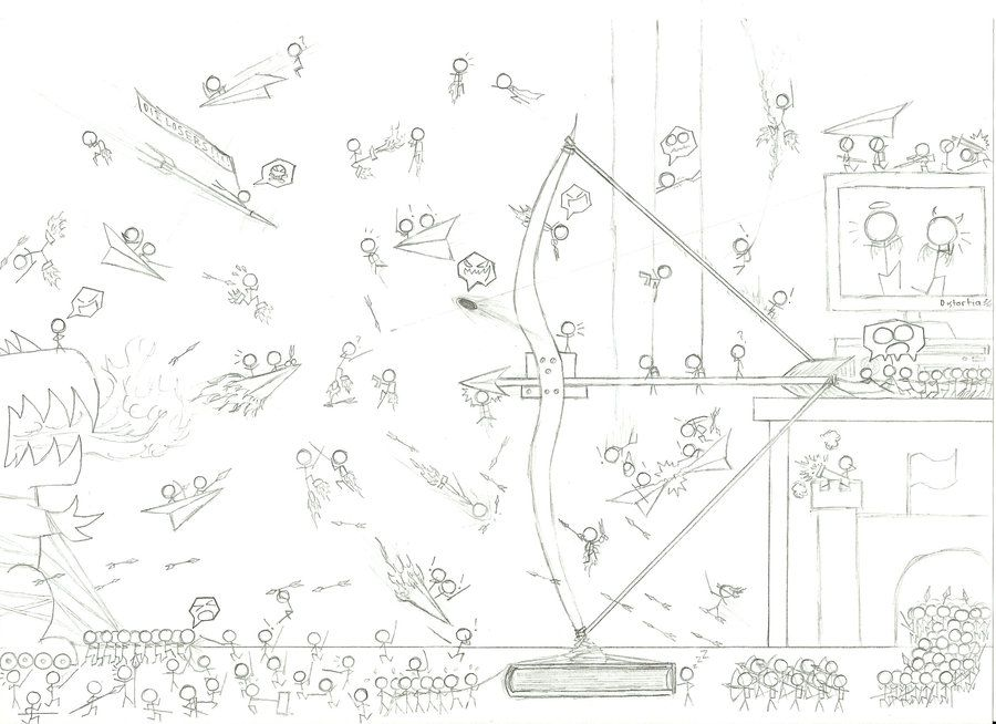 how to draw a stick figure war