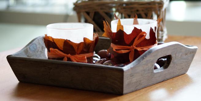 Diy herfst in huis diy houten dienblad bladeren