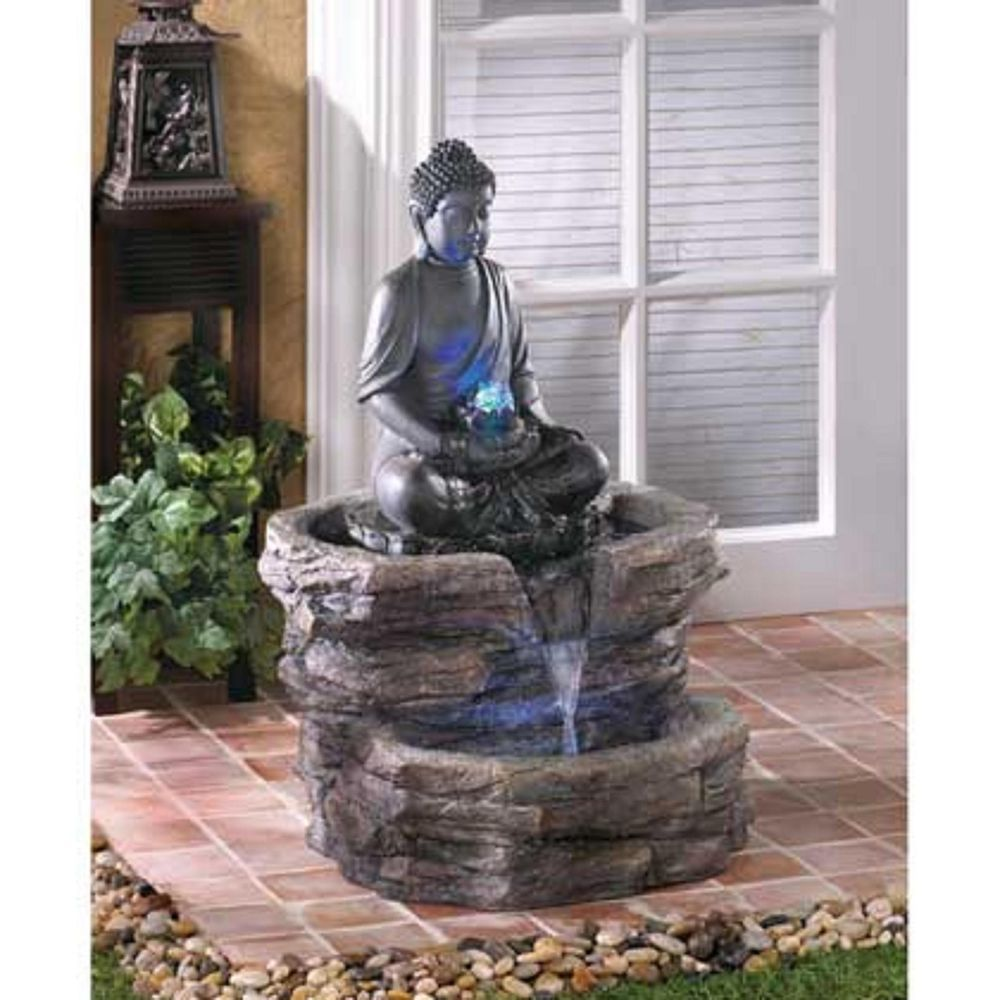 large buddha statue waterfall water fountain outdoor garden w pump