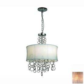 LOWES Gen-Lite�Halo 15-in W Chrome Plated Pendant Light with Fabric Shade