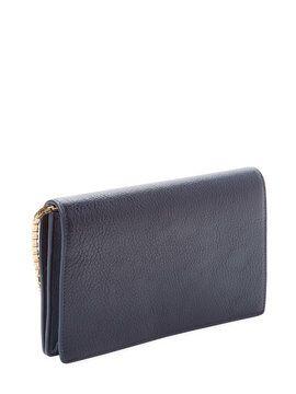 Classic Metallic Edge Leather Chain Wallet from Designer Handbag Shop: On-the-Go Essentials on Gilt