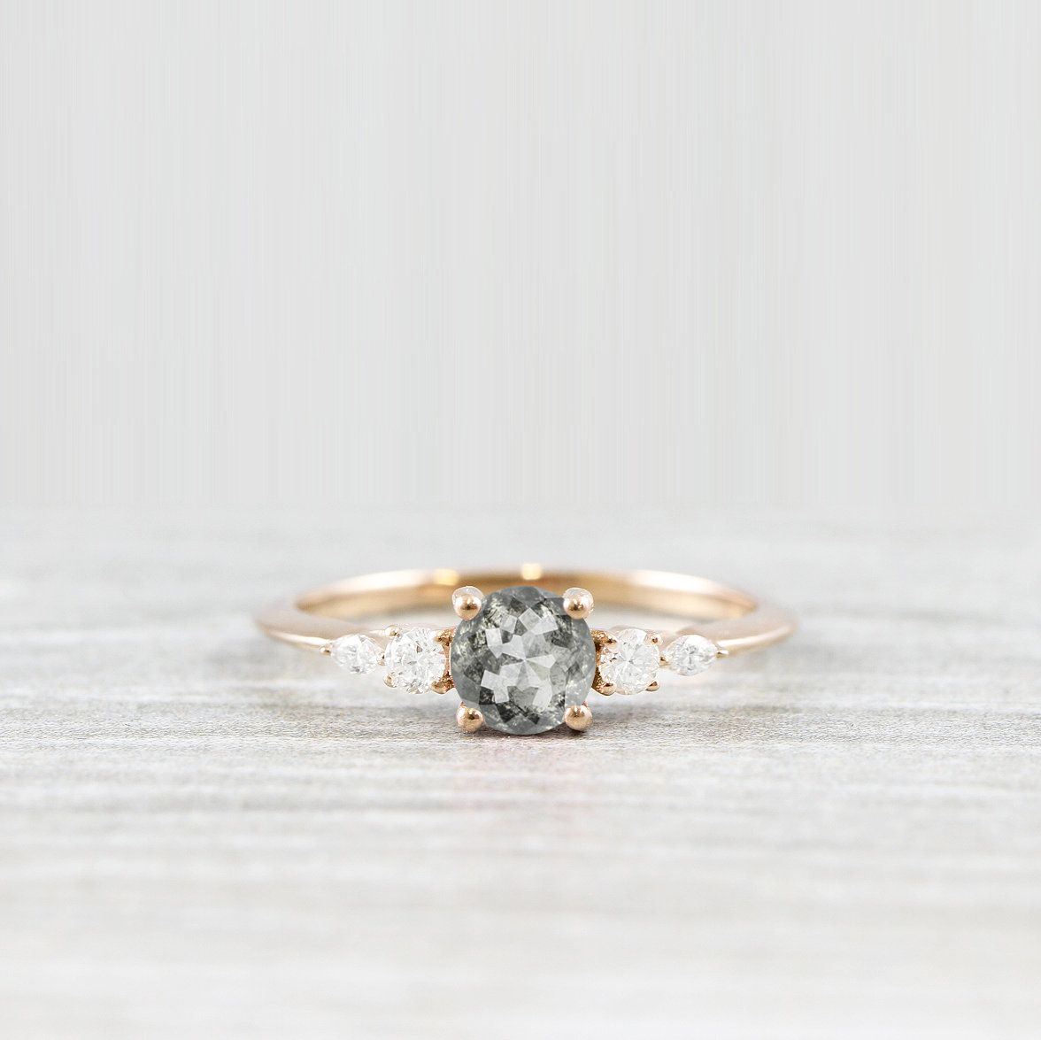 Photo of Salt and pepper diamond engagement 5 stone ring in rose/white/yellow gold handmade for her