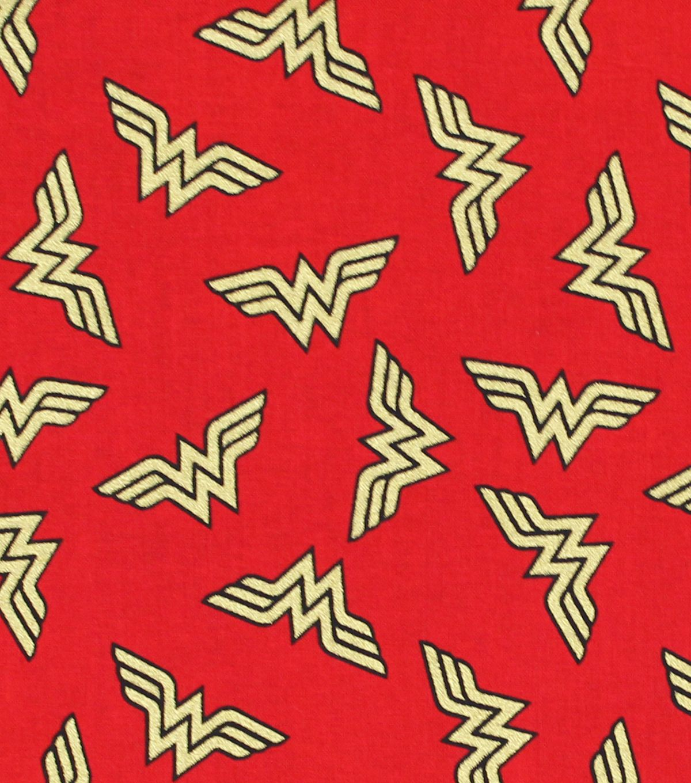 DC Comics Wonder Woman Cotton Fabric Metallic Logo Toss
