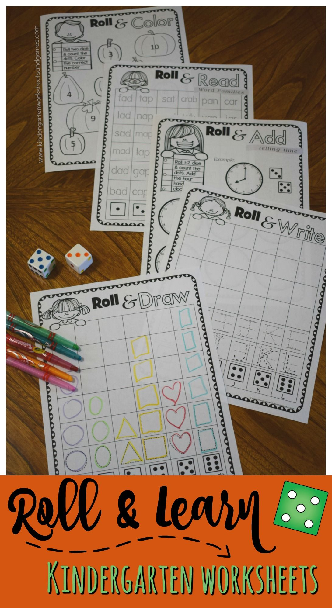 Free Roll Amp Learn Kindergarten Worksheets