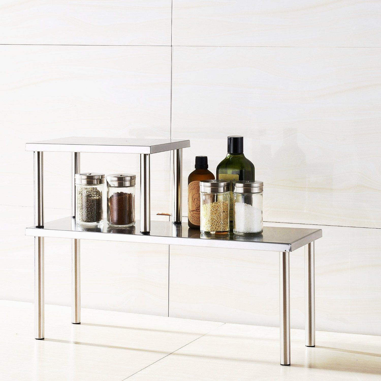 Amazon Cook N Home 2 Tier Counter Storage Shelf Stainless