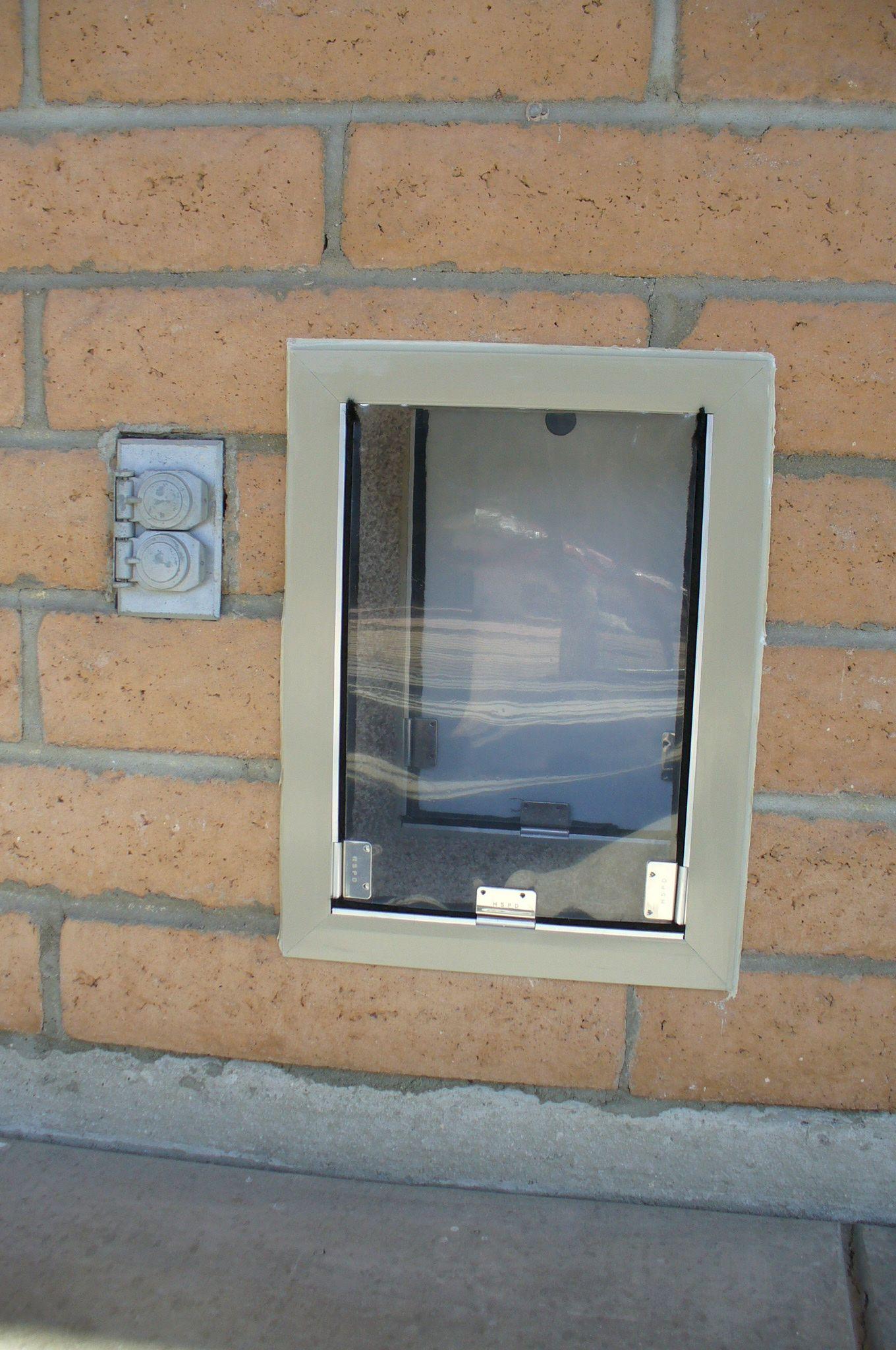 Dog Doors Can Be Installed In Block Walls This Type Of Block Is Called Slump Block Here In Arizona This Is A High Quality Wall Pet Door Pet Doors Backyard
