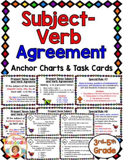 Subject Verb Agreement Task Cards And Anchor Charts In 2018