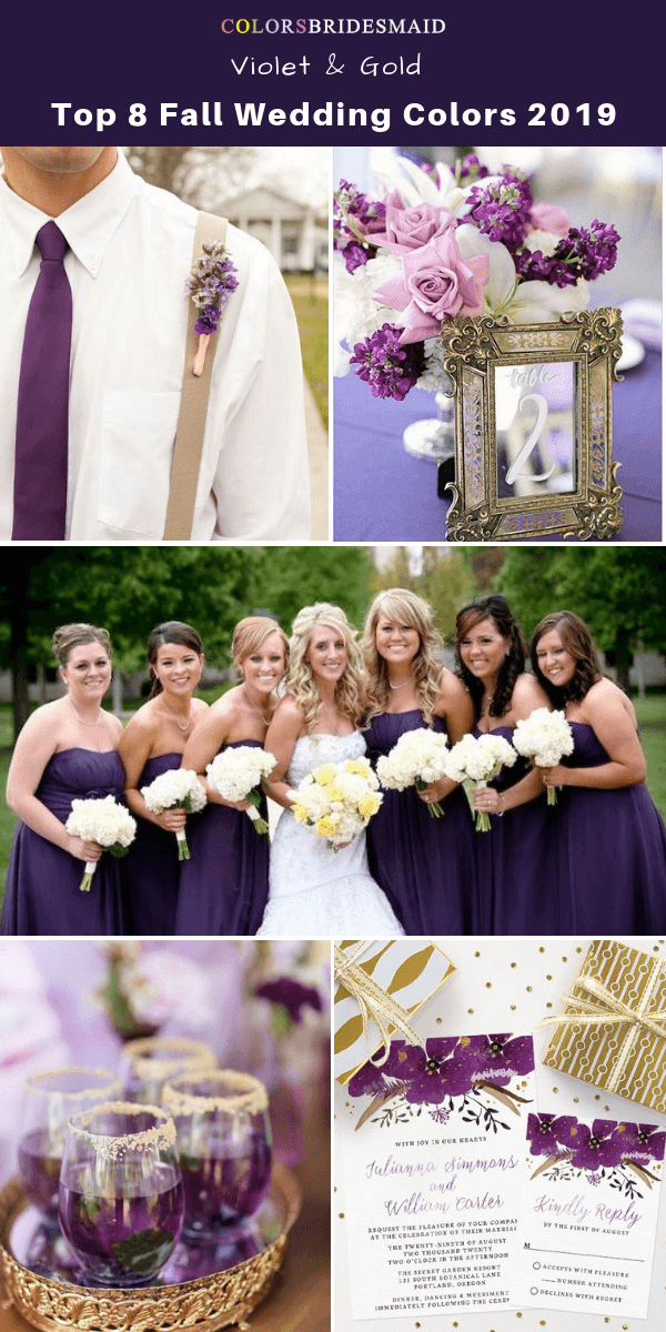 33d18ee827 Top 8 fall wedding color trends and ideas for 2019 -No.7 Violet and Gold   colsbm  bridesmaids  weddings  weddingideas  fallwedding b809