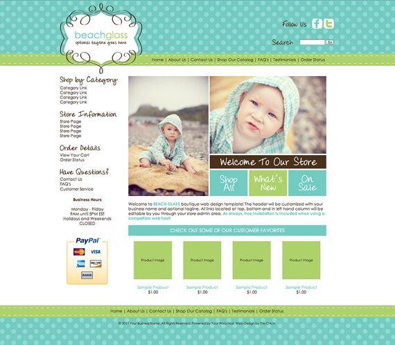BEACH GLASS Boutique Web Design Template by thischickdesigns, $100.00