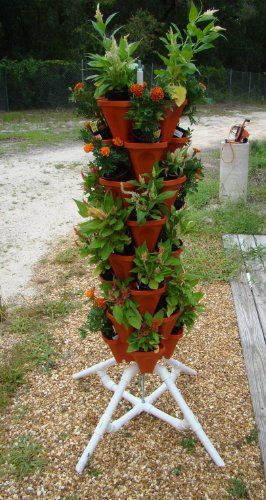 Mr Stacky Vertical Gardening Tower - Hydroponics Aquaponics Soil - Pots and Stand - Tall Tiered Planter Grows 32 Plants - Backyard Container