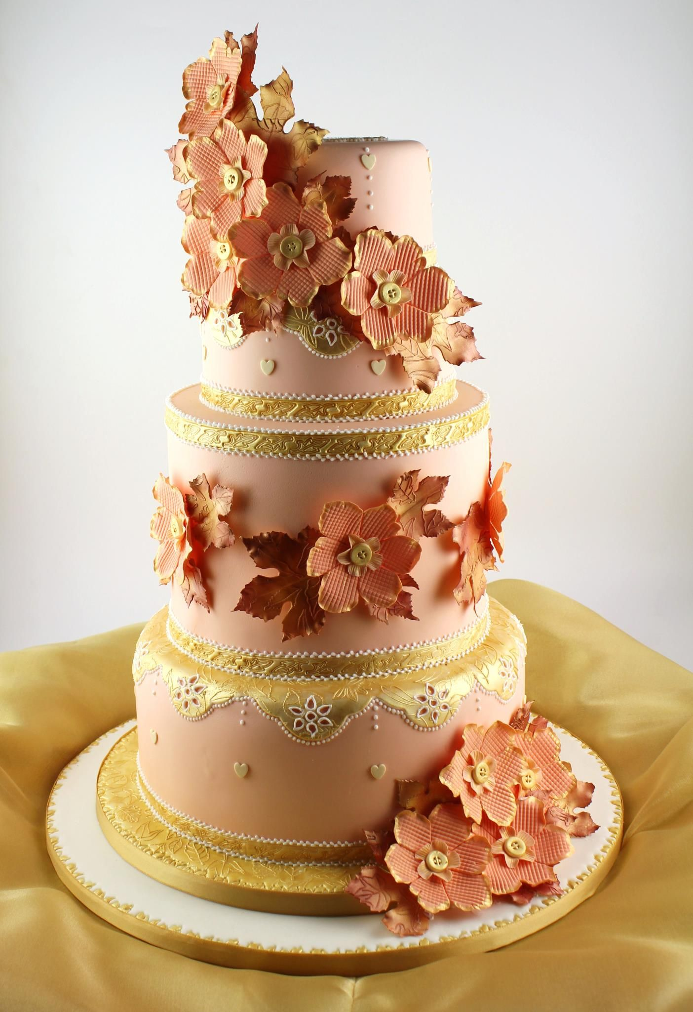 wedding cake peach color colored cake cakes unlimited color 23394
