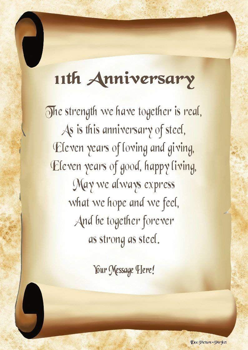 11th Anniversary Personalised Poem Gift Print Amazon Co Uk