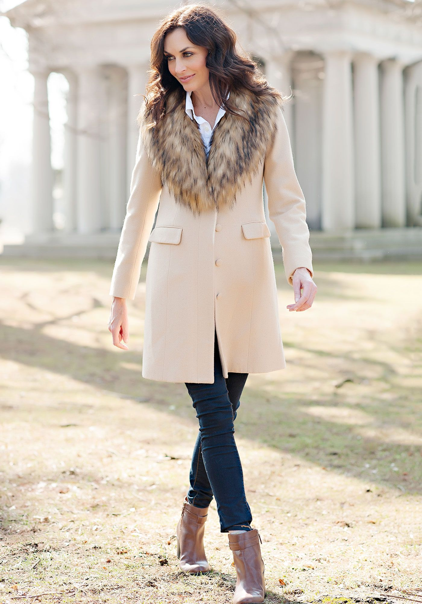 Camel Faux Wool Knee-Length Coat with Faux Fur Collar | Faux fur ...