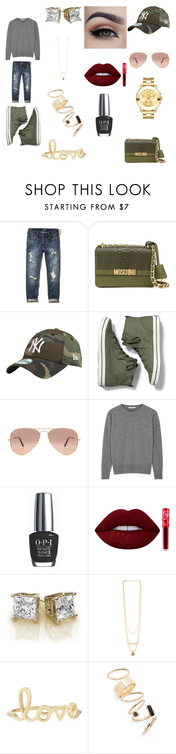 """""""Ready For Fall!"""" by legowonderwoman ❤ liked on Polyvore featuring Hollister Co., Moschino, Keds, Ray-Ban, OPI, Lime Crime, Sydney Evan, BP. and Movado"""